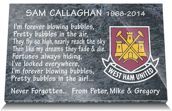 West Ham FC Memorial Plaque
