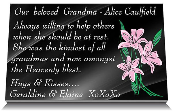 Memorial Plaque wording ideas