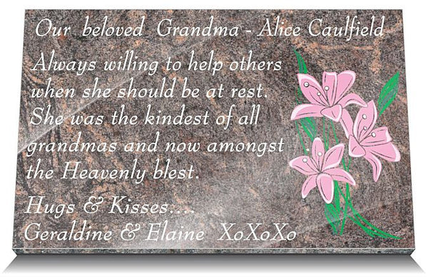 Memorial Plaque wording for mother