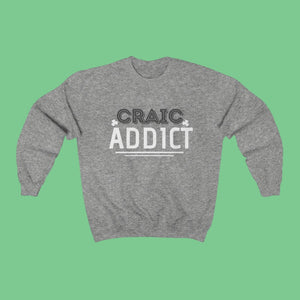 Craic Addict - Irish Crewneck Sweatshirt-Two Thirds Irish