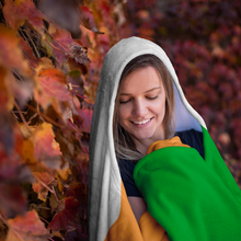 Load image into Gallery viewer, Tri-Color Irish Hooded Blanket-Two Thirds Irish