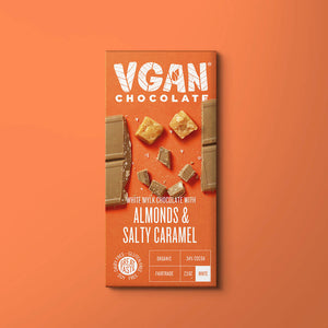 Yummy Vegan White Chocolate with Almonds & Salty Caramel - MooingOn Boxes