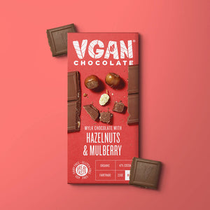 Yummy Vegan Dark Chocolate With Hazelnuts & Mulberries - MooingOn Boxes
