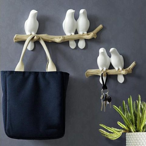 White/Blue/Pink Bird Shaped Resin Wall Hanging Hooks, available in 4 Sizes of  2 Birds (14.5cm×20cm×6cm), 3 Birds (14.5cm×34cm×6cm) and 4 Birds (47cm×14.5cm×6cm) are OBM,Handpainted & Sculptured, available exclusively on Shahi Sajawat India, the world of home decor products.Best trendy home decor and living room decor ideas of 2019.