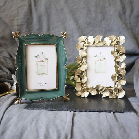 Green & Golden Ginkgo Leaf Resin Photo Frame,Rectangular in shape,with Picture Card.Size of Green Frame is 21.5*16.5*1.5cm, & Ginkgo Leaf Frame is 21*16*1.5cm,available exclusively on Shahi Sajawat India,the world of home decor products.Best home decor,living room and kitchen decor ideas of 2019.