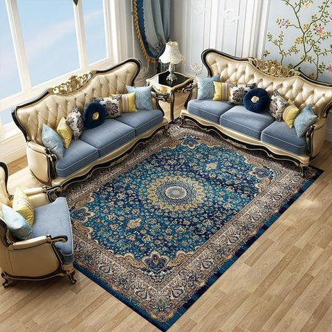Blue Persian Iranian Floral Polypropylene Carpet (Rugs) Are Rectangular Shaped,Hand Woven and Machine Washable, in dimensions of 160×230cm, 200×280cm, 240×330cm, available exclusively on Shahi Sajawat India,the world of home decor products.Best trendy home decor, living room and kitchen decor ideas of 2019.