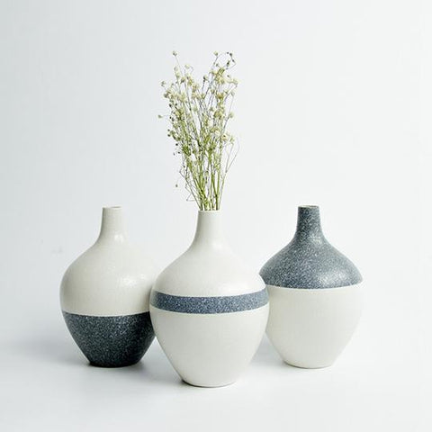 White And Blue 3 Piece Snowflake Glazed Ceramic Tabletop Vases Of Size 15*10cm, And Bore Diameter Of 2cm,available exclusively on Shahi Sajawat India,the world of home decor products.Best trendy home decor,living room and kitchen decor ideas of 2019.