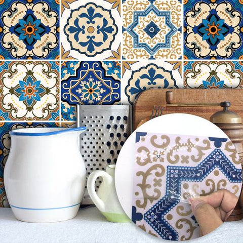 DIY Multicoloured Self Adhesive PVC Moroccan Style Tile stickers are eco-friendly, pearl gloss finished, are waterproof, oil proof, available exclusively on Shahi Sajawat India,the world of home decor products.Best trendy home decor, living room, kitchen and bathroom decor ideas of 2019.