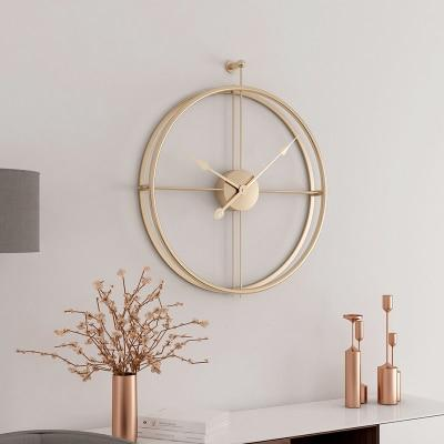 Large Golden With Golden Circular Metal Quartz Wall Clock of diameter 55cm with display type of needle,1×AA Carbon Battery Operated,abstract patterned,width of 55cm,single face form.Weight is 2000g, available exclusively on Shahi Sajawat India, the world of home decor products.Best home decor and living room decor ideas of 2019.
