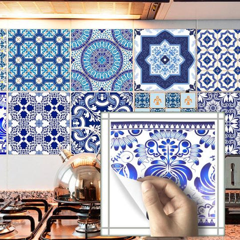 DIY White & Blue Self Adhesive PVC Tile Stickers With Marble like Mediterranean Pattern are Water Resistant,Extra thick,Environment friendly in 2 Sizes 15×15cm & 20×20cm, available exclusively on Shahi Sajawat India,the world of home decor products.Best trendy home decor,living room,kitchen and bathroom decor ideas of 2019