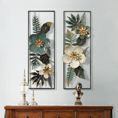 Black/White/Green Floral Wrought Iron Metal Wall Hanging Murals Of Size 89×31cm,available exclusively on Shahi Sajawat India,the world of home decor products.Best trendy home decor, living room and kitchen decor ideas of 2019.