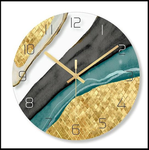 Multicoloured Marble Printed Circular Glass Quartz Wall Clock With Needle Display,Size of 30cm Diameter,9mm of Sheet Type and a single face form,available exclusively on Shahi Sajawat India,the world of home decor products.Best trendy home decor and living room decor ideas of 2019.