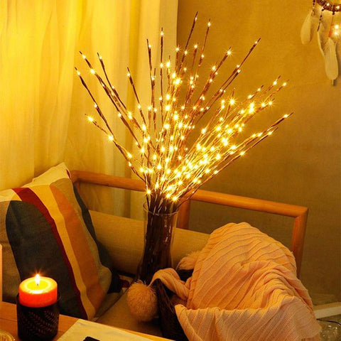 LED DIY Willow Branch Decorative PVC+Wooden Warm White Lights with 7.7 meters, 20 Lights of Voltage 3V with Spacing of 10cm, Luminous Flux of 6lm & Protection Level of IP44,Service Life of 6000H &Flashing function is always bright,available exclusively on Shahi Sajawat India, the world of home decor products,best home decor ideas of 2019.