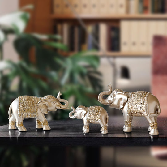Golden/Texture Blue/Blue 3 Piece Resin Elephant Sculptures Are Hand Painted Of Sizes:Large Size Elephant( 23.5×17×9cm ), Medium Size Elephant( 22×13.5×8cm ), Small Size Elephant(14.5×9.5×6cm), available exclusively on Shahi Sajawat India,the world of home decor products.Best trendy home decor and living room decor ideas of 2019.