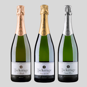 Tickerage Wine, blush, classic cuvee and blanc de blancs