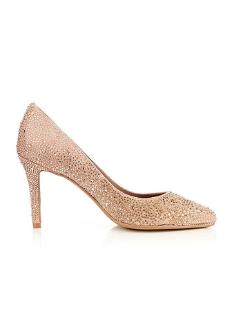 LOLA CRUZ NUDE GEM ENCRUSTED COURT SHOE