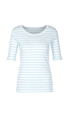 MARC CAIN BABY RIBBED T SHIRT IN PALE BLUE STRIPE