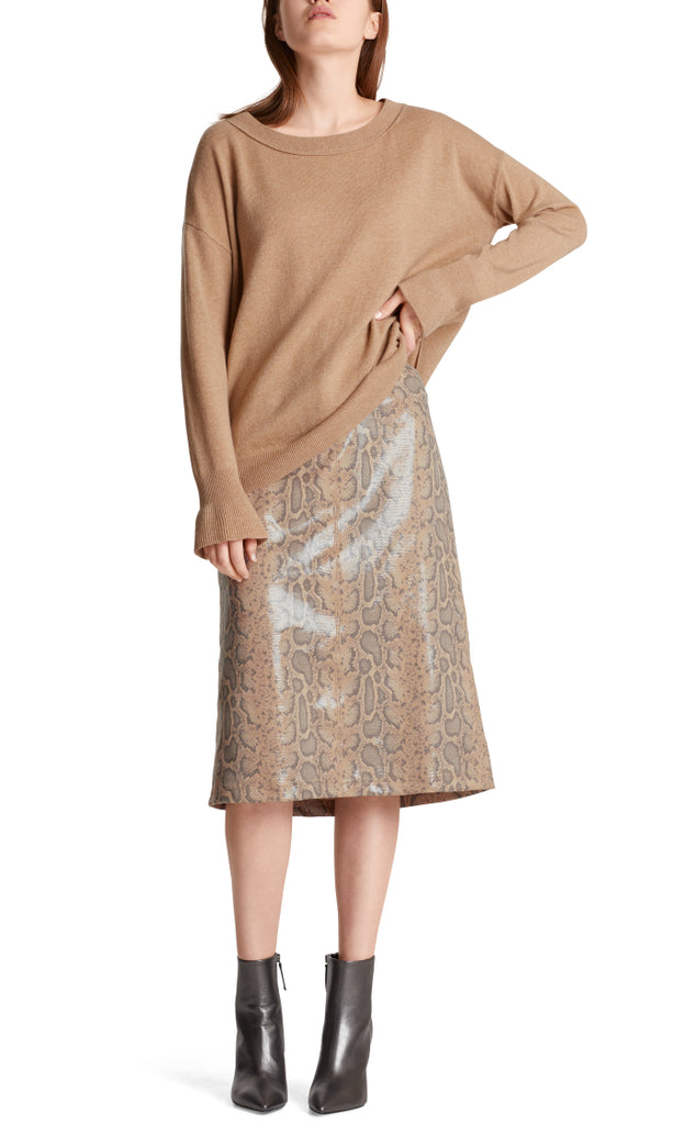 MARC CAIN COATED FAUX SUEDE SKIRT WITH SNAKE PRINT