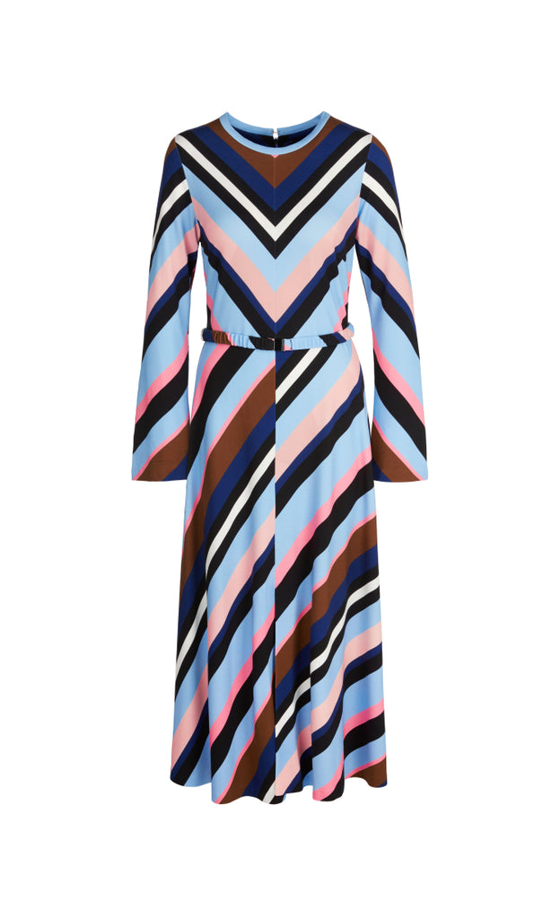 MARC CAIN JERSEY MIDI DRESS WITH STRIPES