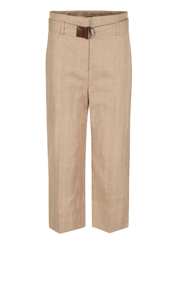 MARC CAIN COTTON & LINEN BLEND CHECKED CULOTTES