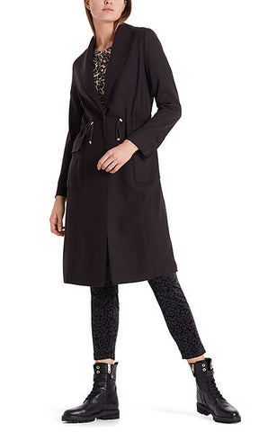 MARC CAIN ALL WOOL JERSEY COAT IN DARK MORO