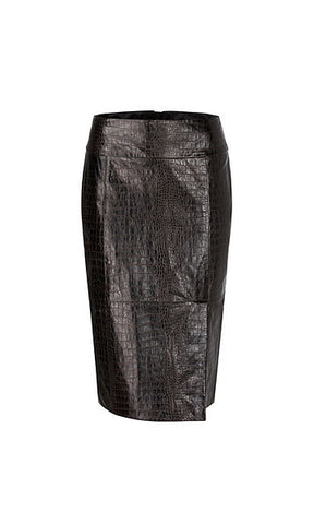 MARC CAIN CROCODILE EFFECT LAMB NAPPA LEATHER SKIRT