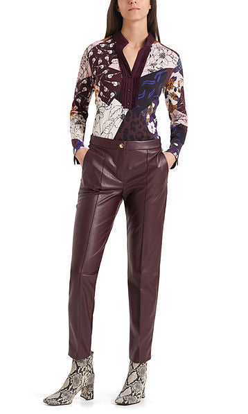 MARC CAIN LEATHER LOOK JEAN IN DARK AUBERGINE