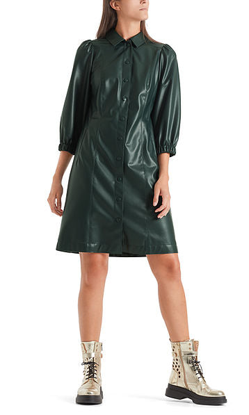 MARC CAIN LEATHER LOOK SHIRT DRESS IN DARK GREEN