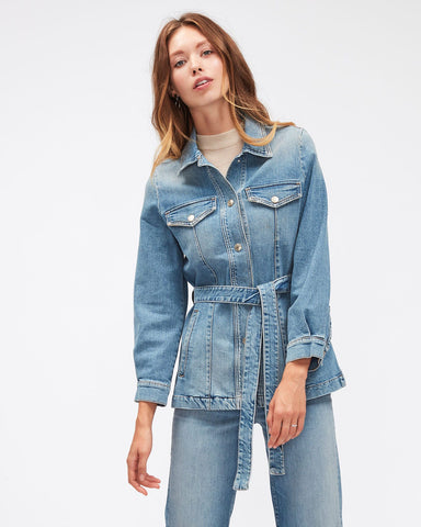 7 FOR ALL MANKIND LONG BELTED DENIM JACKET