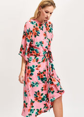 ESSENTIEL ANTWERP PINK FLORAL & POLKA DOT SILK DRESS