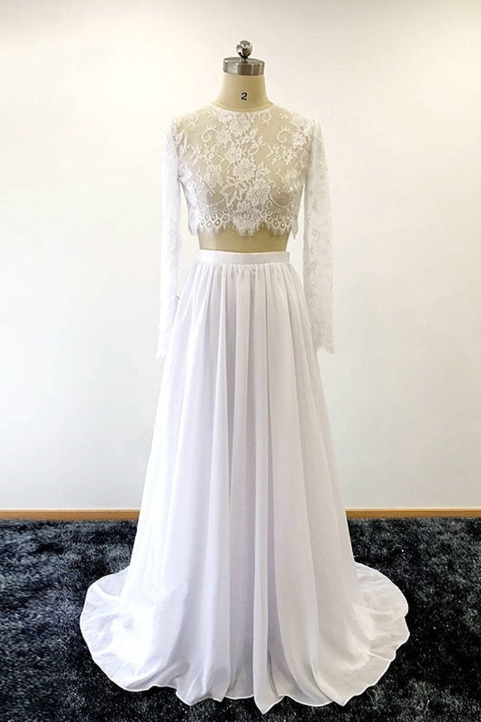 Elegant Lace Illusion Scoop Neck Long Sleeves Two Piece Long Wedding Gowns