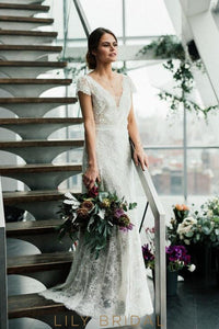 lace-wedding-dress-scalloped-edge-neck-short-sleeves-long-bridal-gown