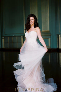 A-line Strapless Sweetheart Tulle Flounced Wedding Dress with Open Back