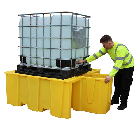 IBC Spill Pallet (For 1 x 1000ltr IBC With Integral Dispensing Area (With Grid)) - BB1DG