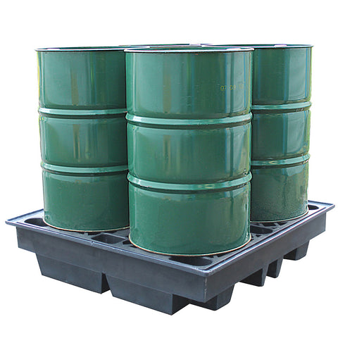 Recycled Low Profile Spill Pallet (For 4 x 205ltr Drums) - BP4LR