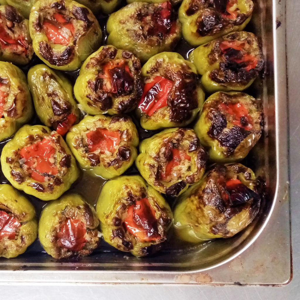 Roasted Turkish Green Bell Peppers in Olive Oil with Herb Rice (Vegan)