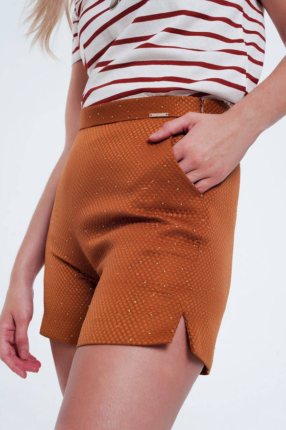 High Waisted Shorts - Orange and Gold