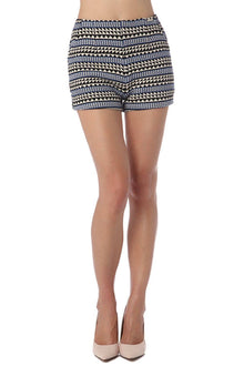 Blue Aztec Printed Shorts