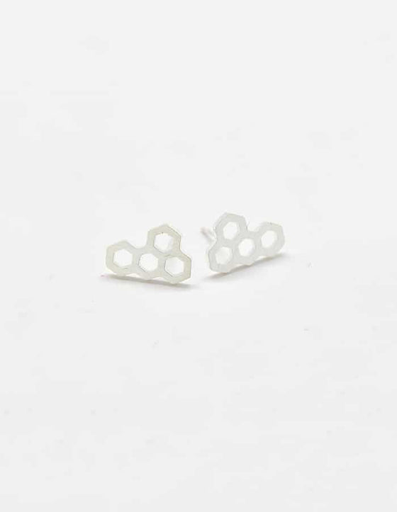 Silver Honeycomb Stud Earrings