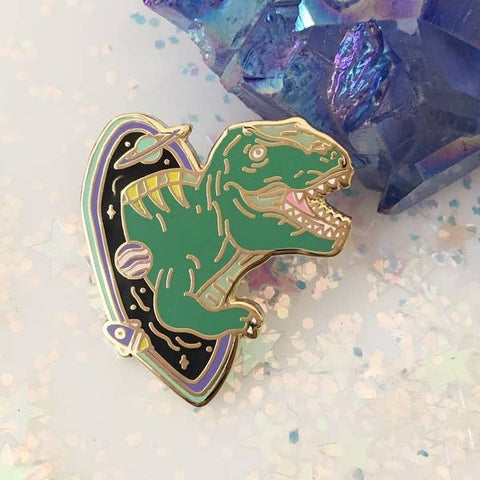 Enamel Pin - T-Rex in Black Hole