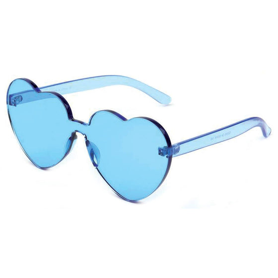 True Blue Rimless Heart Sunglasses