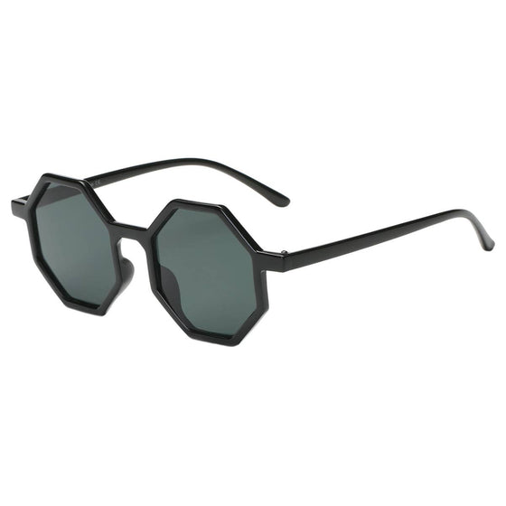 You're Edgy Black Octagonal Sunglasses