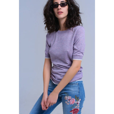 Lavender Short Sleeve Sweater