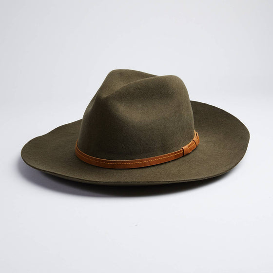 Rancher Style Olive Green Felt Hat - Unisex