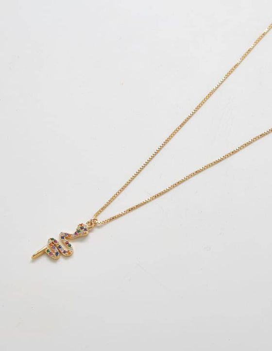Gold Multicolor Pave Serpent Necklace