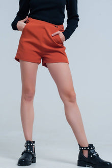 High Waisted Women's Shorts - Orange