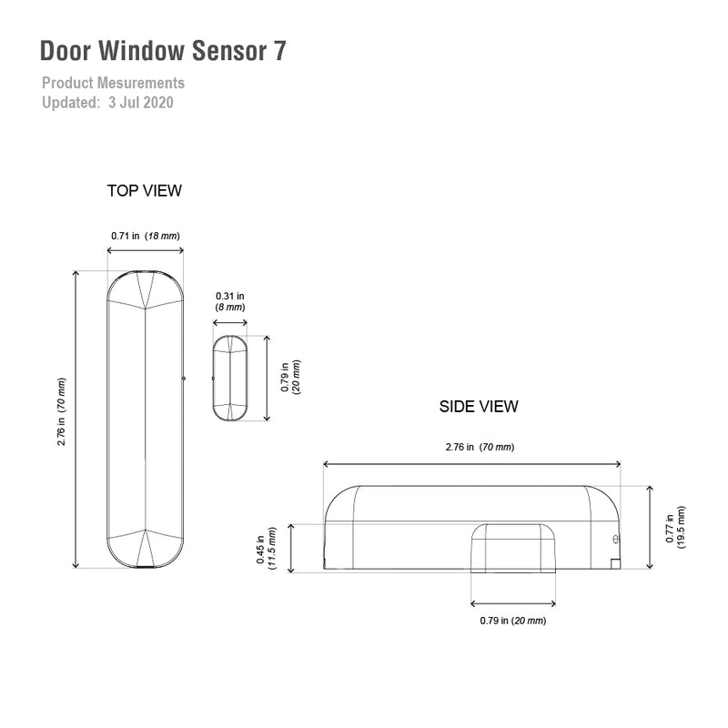 aeotec Door / Window Sensor 7 dimensions