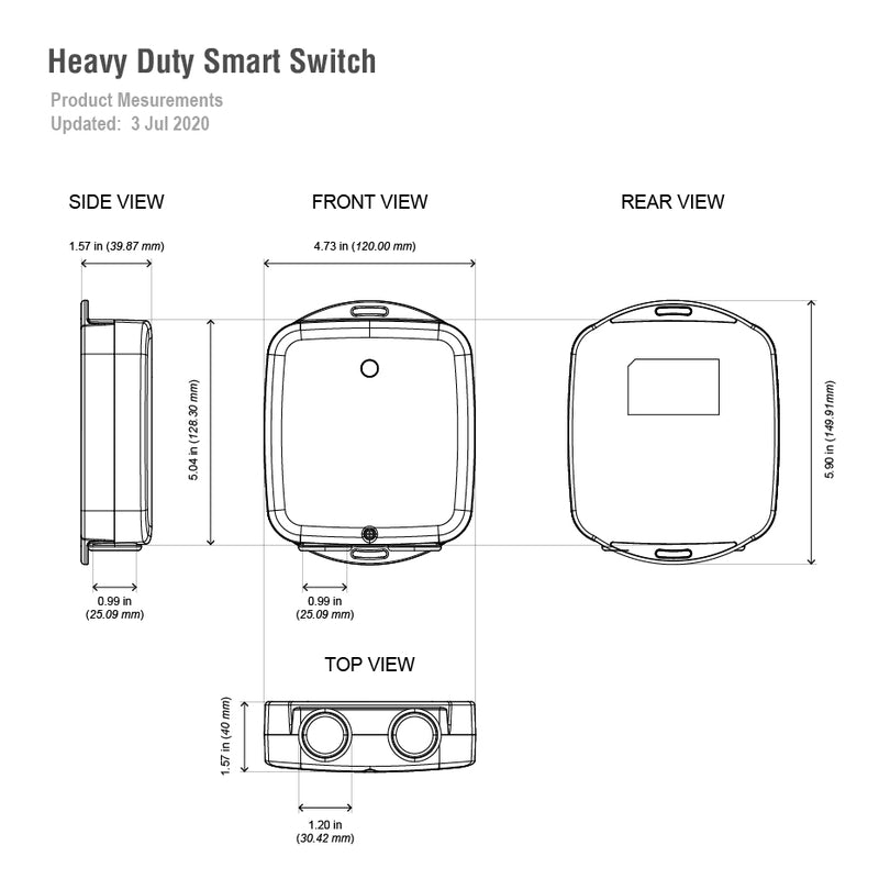 Aeotec heavy duty smart switch dimensions