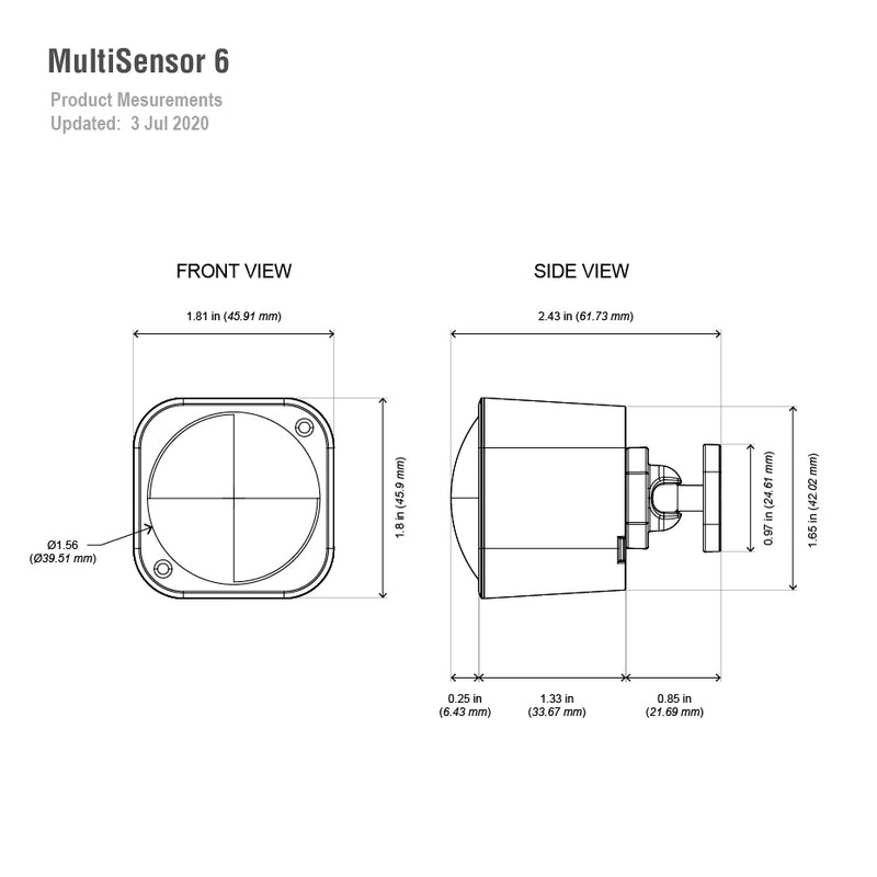 multisensor 6 measurements dimensions