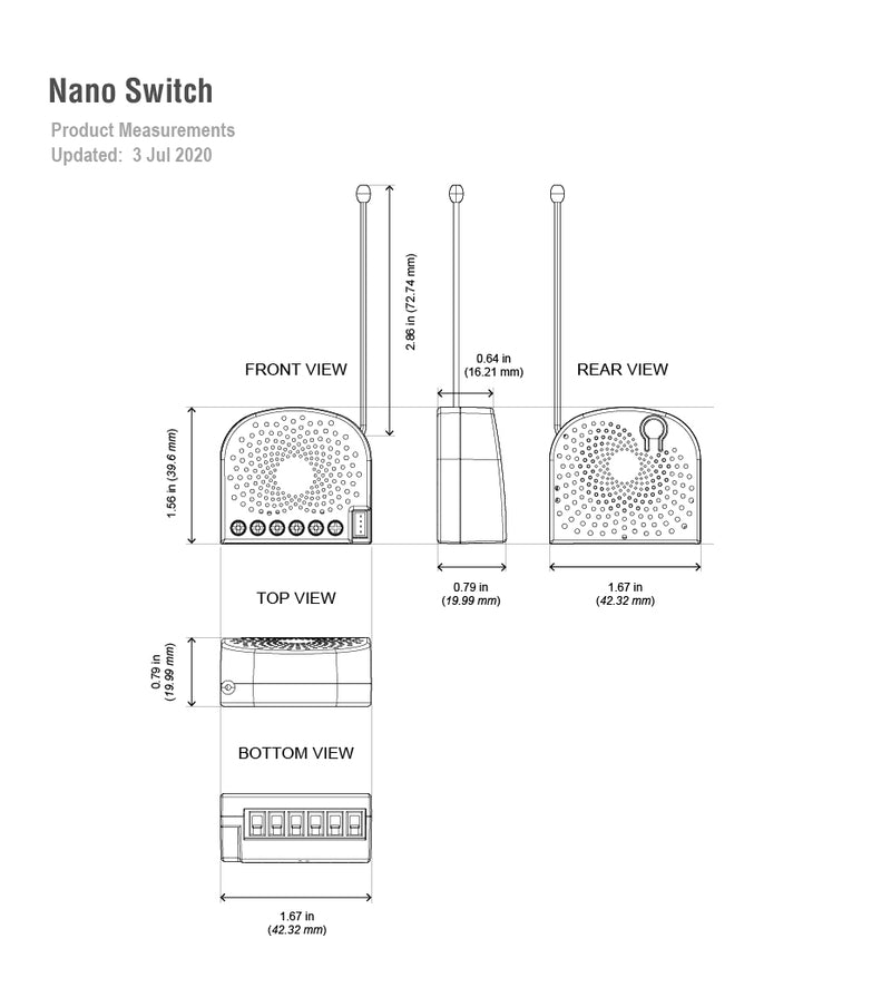 nano switch  dimensions
